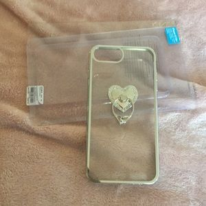 NWT iPhone 6/7 Heart/Diamond Ring Case